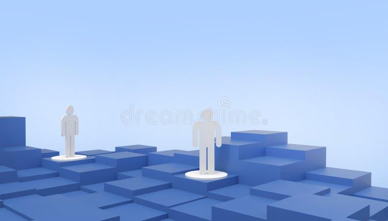 Wettbewerb- und Leutegeschäft Konzept, Führungskonzept Geschäftsstrategie auf blauem Hintergrund für Kopienraum stock abbildung