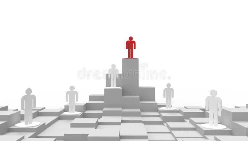 Wettbewerbe und Geschäftsleute des Konzeptes, Führungskonzept Geschäftsstrategie auf lokalisiert auf einem weißen Hintergrund lizenzfreie abbildung