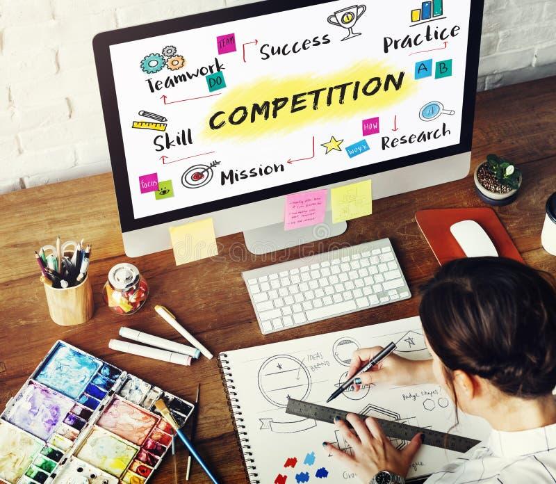 Wettbewerbs-Ziel-Ziel-Erfolgs-Entwicklungs-Konzept lizenzfreie stockfotografie