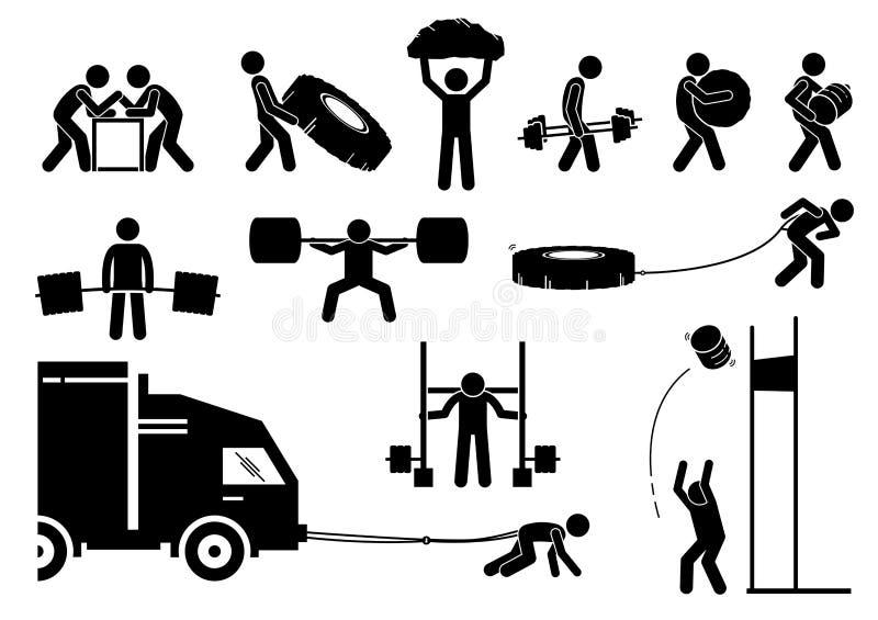 Wettbewerbsikonen und -piktogramme des Stärkeleichtathletikstarken mannes lizenzfreie abbildung