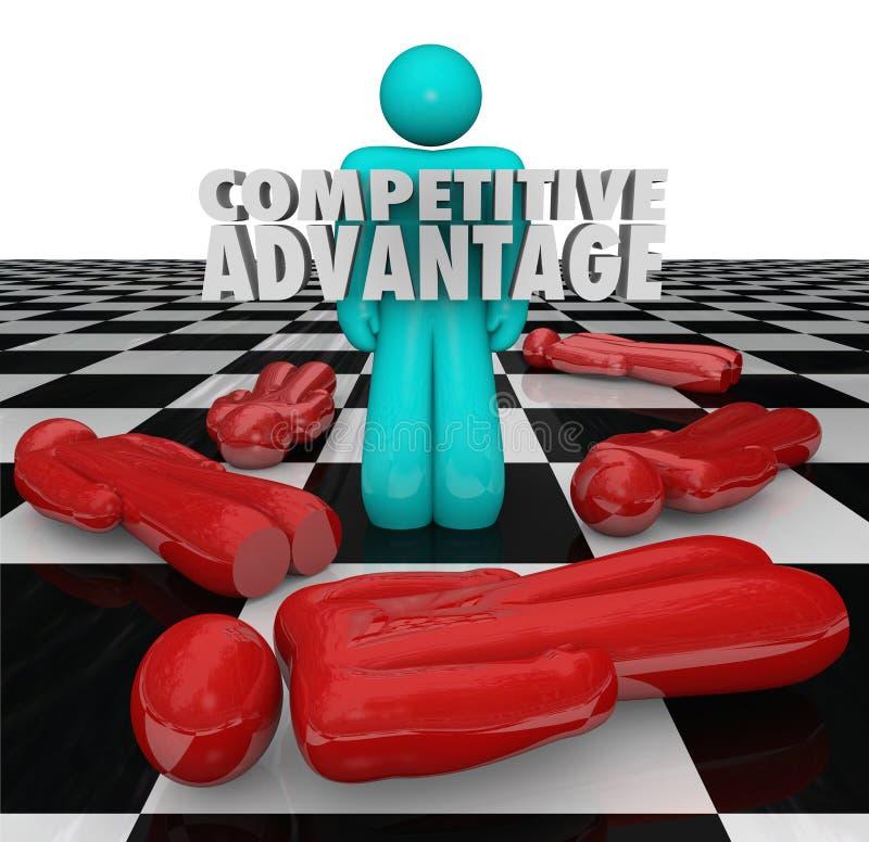 Wettbewerbsvorteil-Leute-Sieger steht allein vektor abbildung