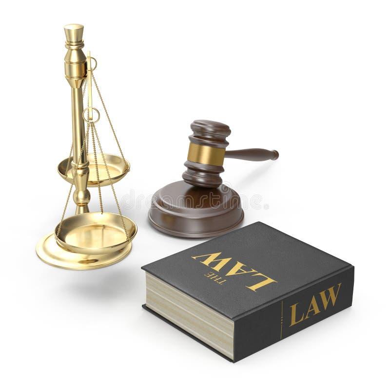 Wettelijk van de Hamerschalen en Wet Boek op wit 3D Illustratie vector illustratie