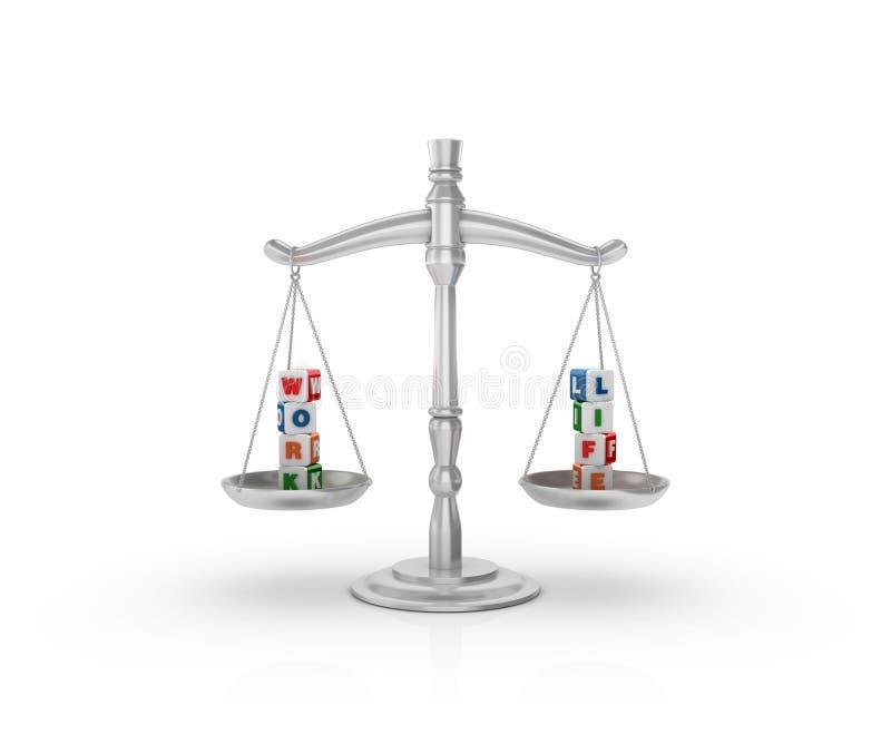 Wettelijke Gewichtsschaal met de Kubussen van het Werklif royalty-vrije illustratie
