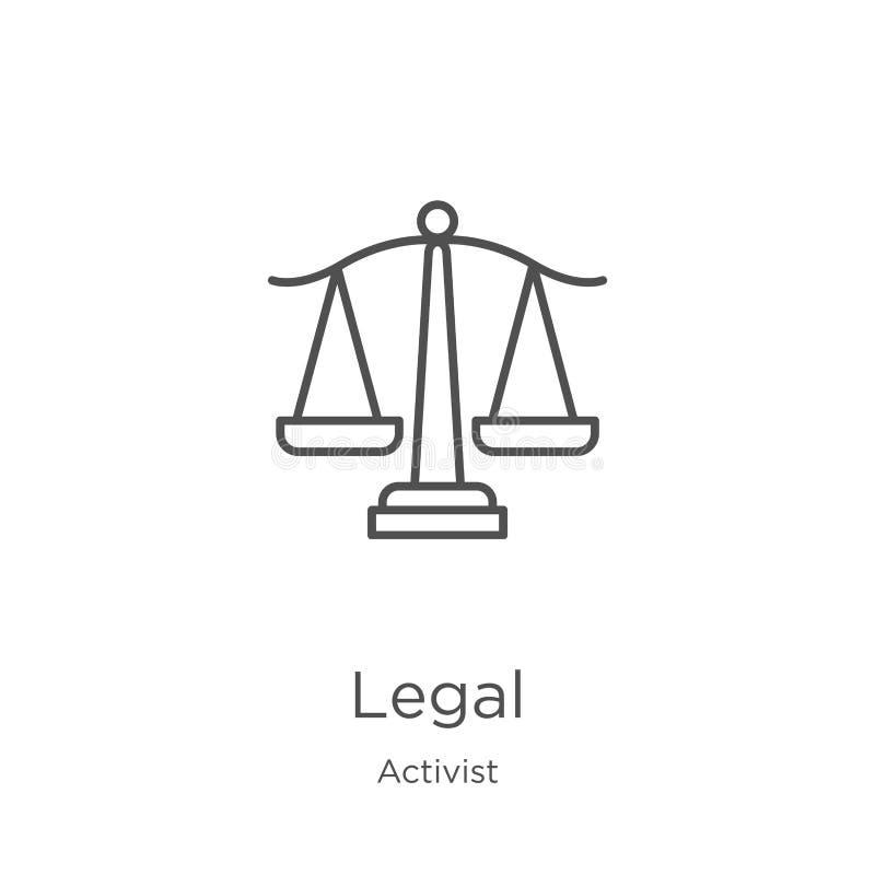 wettelijke pictogramvector van activisteninzameling Dunne het pictogram vectorillustratie van het lijn wettelijke overzicht Overz royalty-vrije illustratie