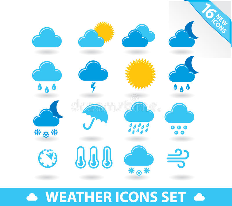 Wetter-Ikonen eingestellt stock abbildung