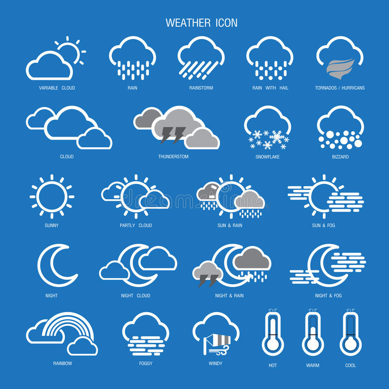 Wetter-Ikonen-Entwurfs-gesetzte Sammlung Auch im corel abgehobenen Betrag lizenzfreies stockfoto