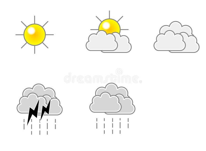 Wetter-Ikonen-vektorformat stock abbildung