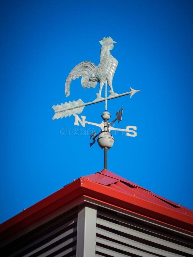 Wetterfahne auf rotem Dach lizenzfreies stockbild