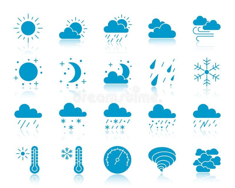 Wetterfarbschattenbildikonen-Vektorsatz lizenzfreie abbildung