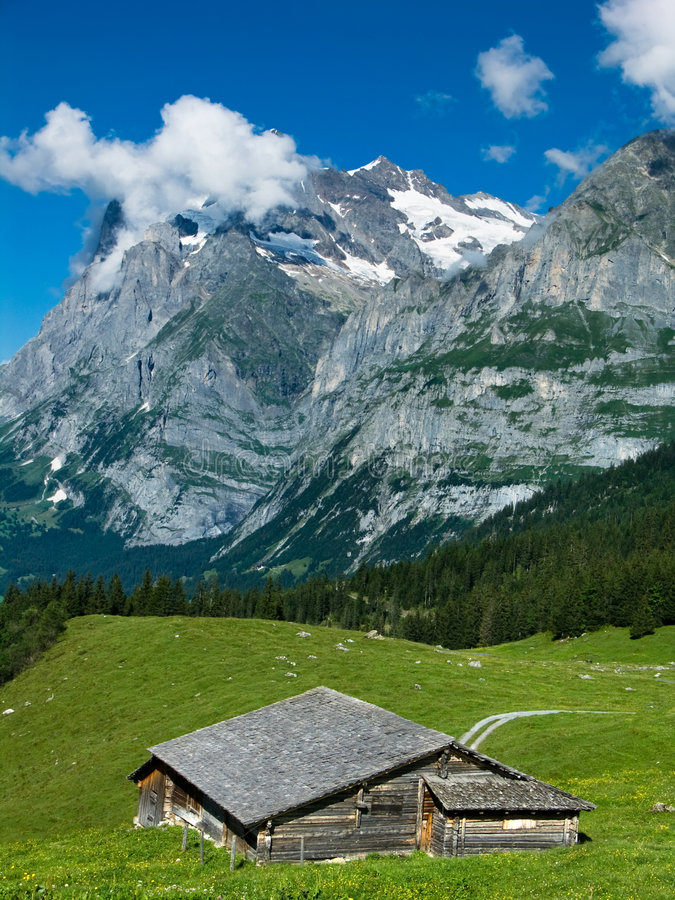 wetterhorn de la Suisse d'horizontal d'alpes images libres de droits