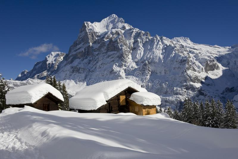 Wetterhorn im Winter lizenzfreie stockbilder