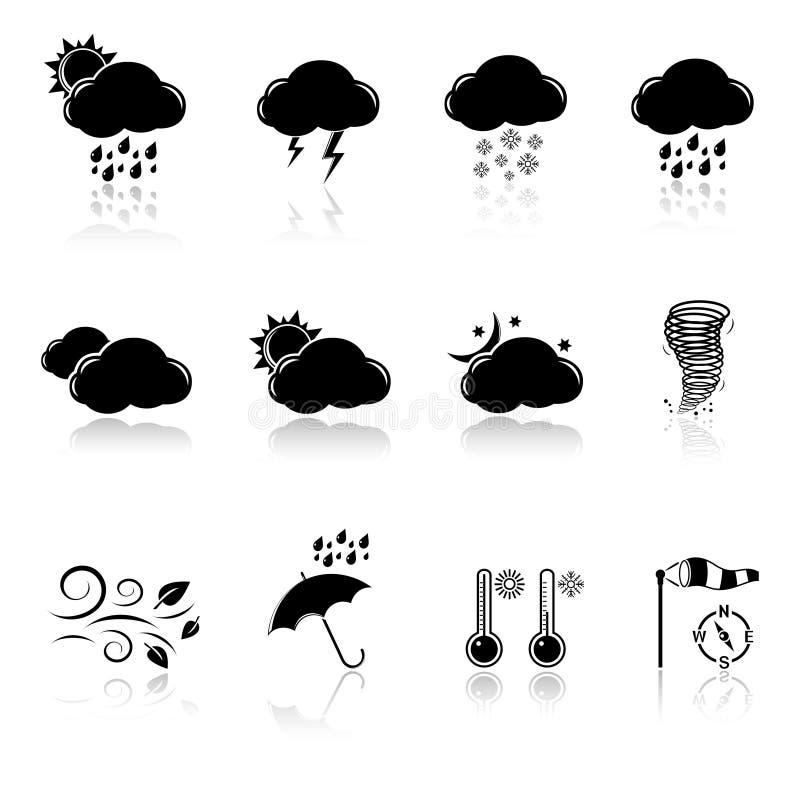 Wetterikonen eingestellt stock abbildung
