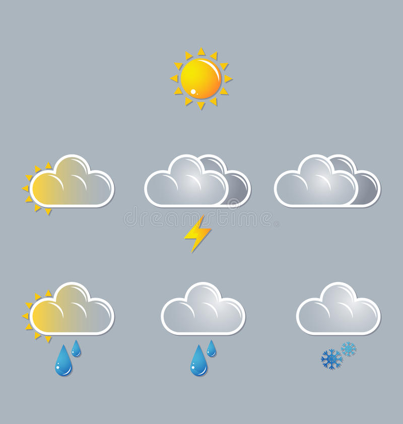 Wetterikonen, Sonne, Wolke lizenzfreie abbildung