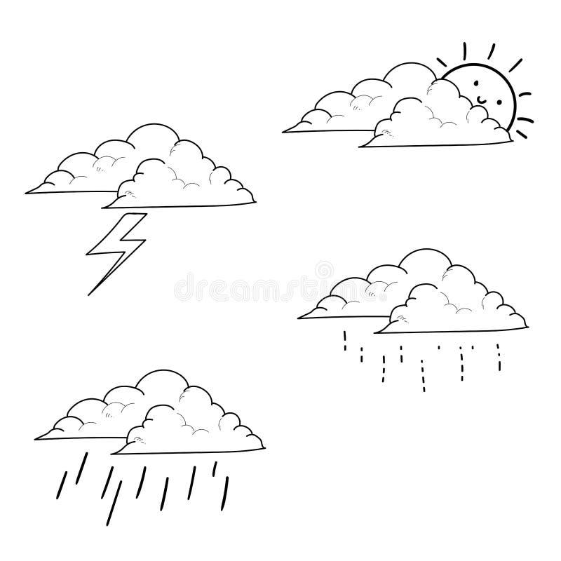 Wetterikonen stellten Hand gezeichnet ein stock abbildung
