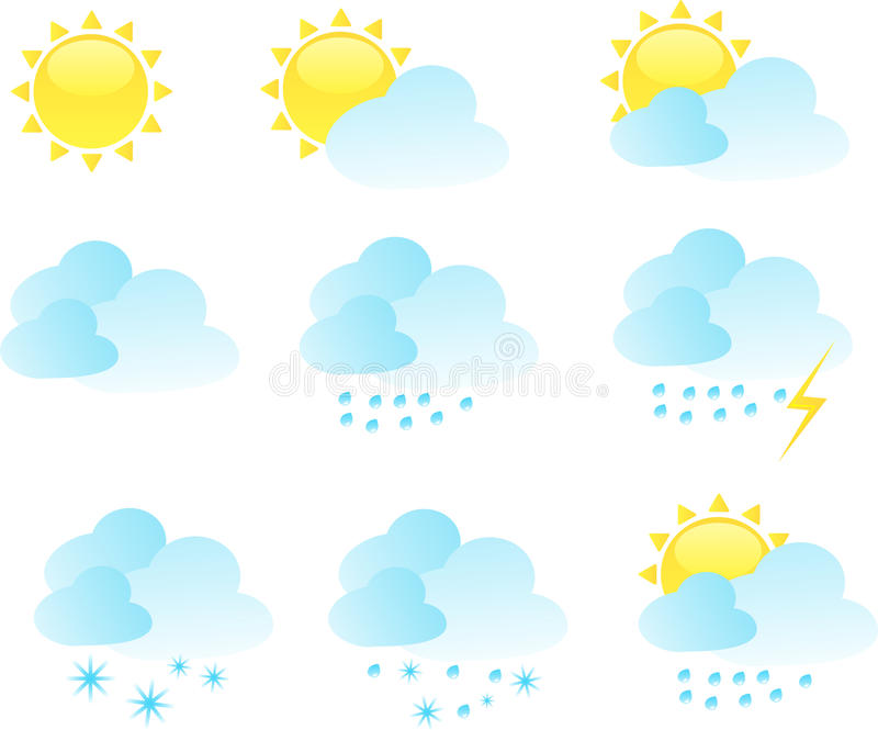 Wetterikonen-vektorset vektor abbildung