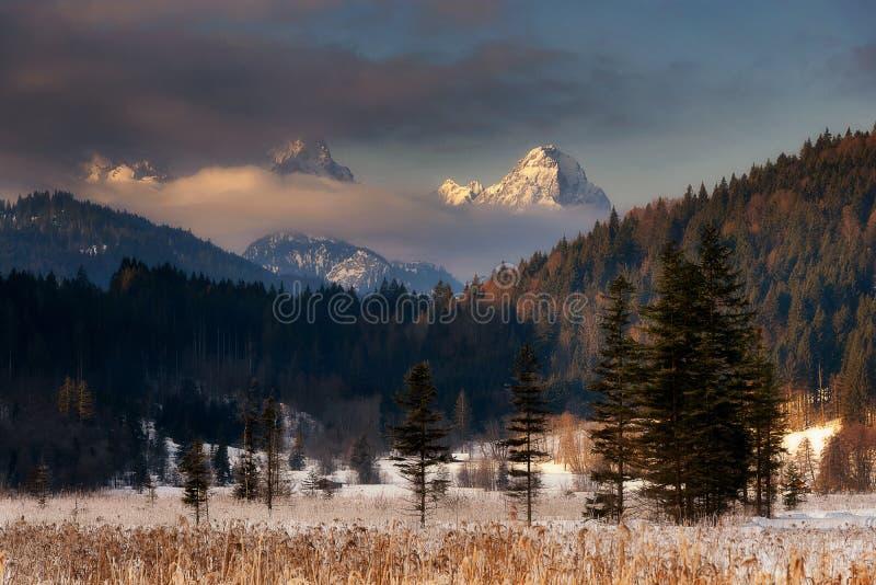 Wetterstein-Bergblick während des Wintermorgens Bayerische Alpen, stockfotografie