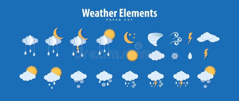 Wettersymbole im Papierschnitt Vector Papier Carve Klimaelemente Wolken Regentrops Sonnenmond Tornado Donunder für vektor abbildung