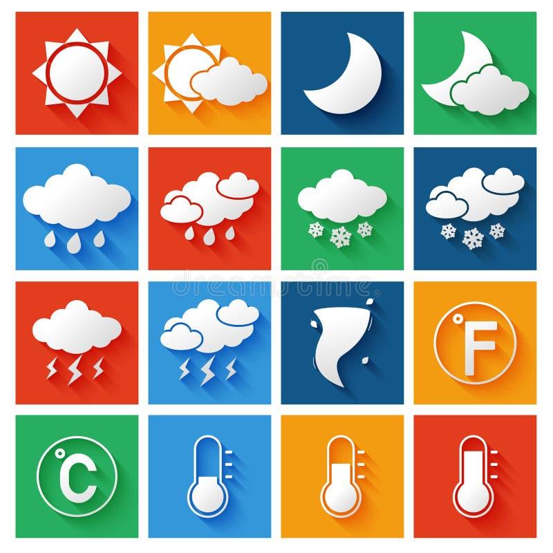 Wettervorhersage-Ikonen eingestellt vektor abbildung