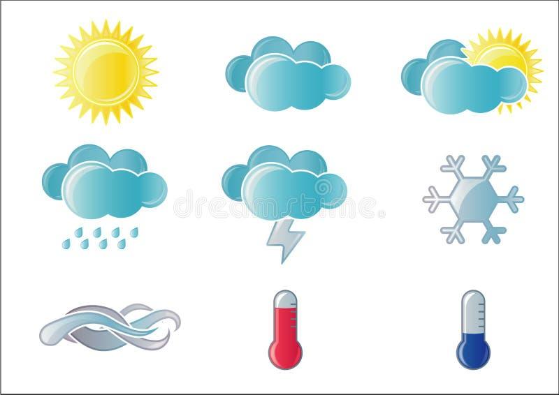 Wettervorhersage-Ikonenset lizenzfreie abbildung