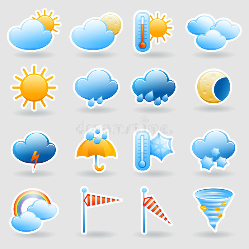 Wettervorhersage-Symbolikonen eingestellt lizenzfreie abbildung