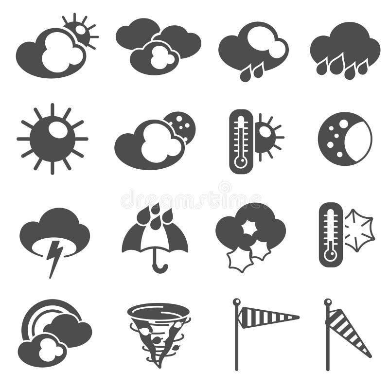 Wettervorhersage-Symbolikonen schwarz eingestellt vektor abbildung
