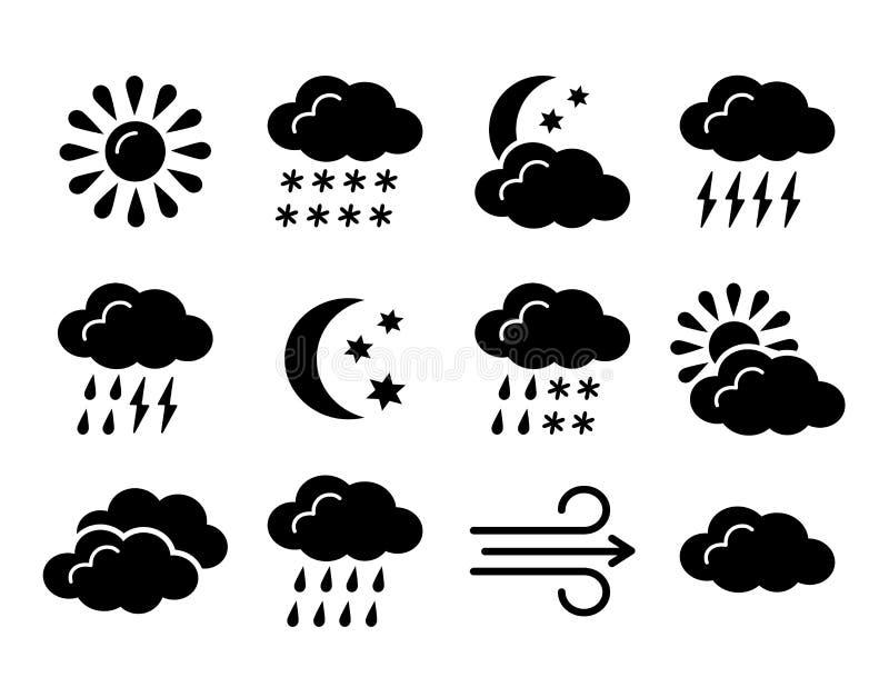Wettervorhersage-Symbolsammlung Flache Ikone eingestellt für die sonnigen, regnerischen, bewölkten Tage Schwarzes u. weißes meteo lizenzfreie abbildung