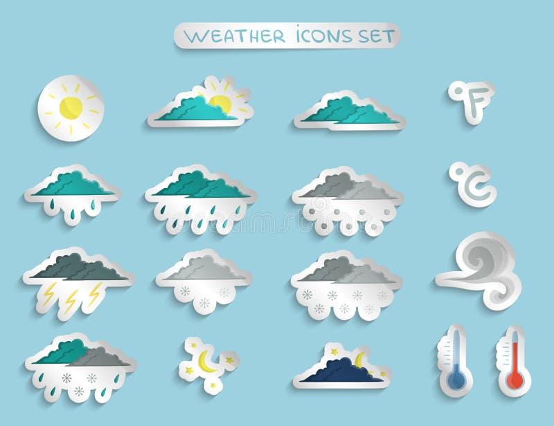 Wettervorhersageaufkleber oder -ausweise eingestellt lizenzfreie abbildung