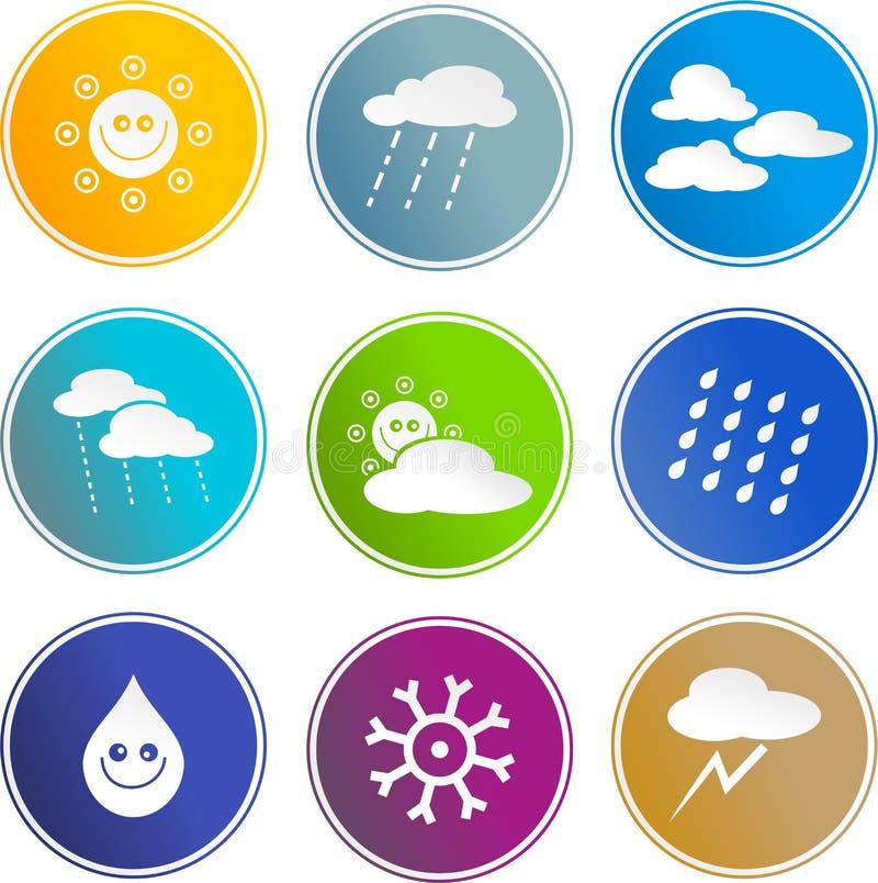 Wetterzeichenikonen vektor abbildung