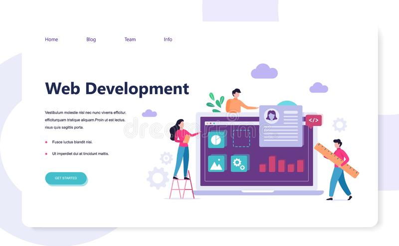 Wev development banner design concept. People code stock illustration