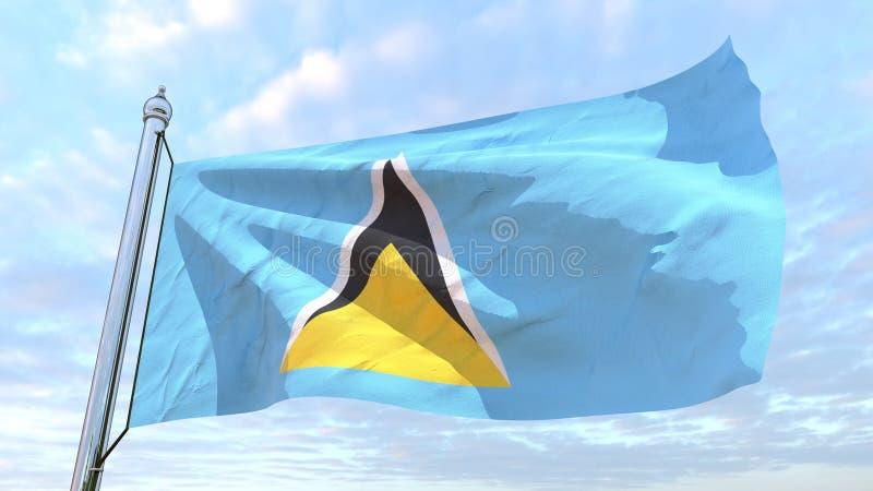 Wevende vlag van het land Heilige Lucia royalty-vrije illustratie