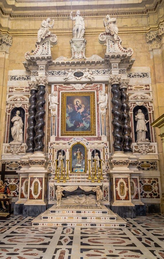 Wewnętrzna katedra Cagliari, Sardina, Włochy zdjęcie stock