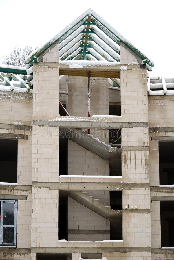 Wewnętrzni schodki w budowie kamienia dom obrazy royalty free