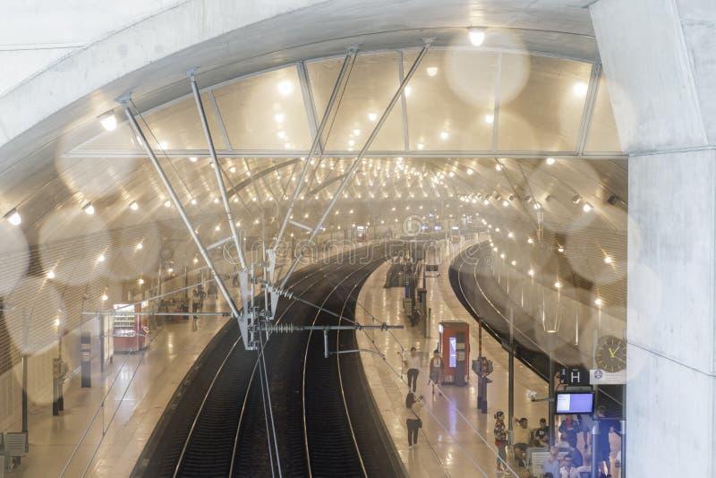 Wewnętrzny widok Gare de Monaco stacja zdjęcia stock