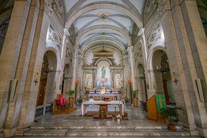 Wewnętrzny widok od kościół Nostra Signora Del Sacro Cuore w piazza Navona, Rzym, Włochy fotografia stock