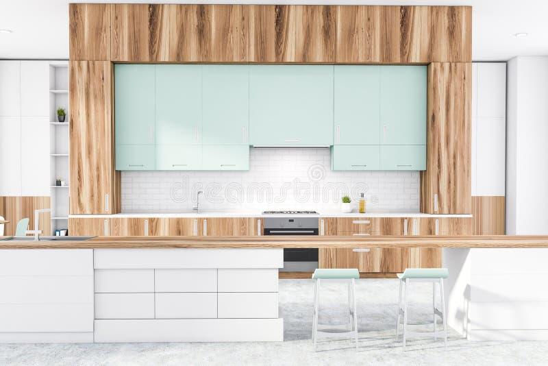 Wewnątrz kuchni drewnianej i białej z prętem ilustracji