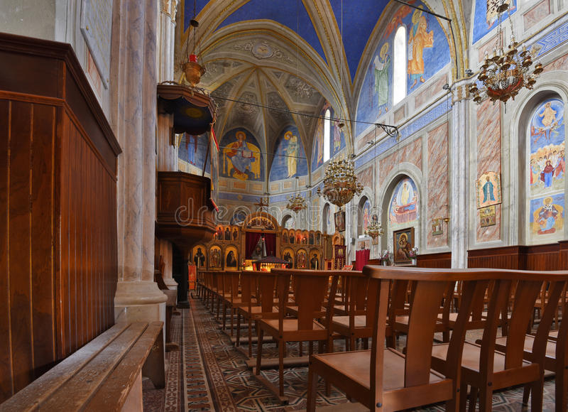 Wewnętrzna część Bizantyjski kościół, Cargese obraz royalty free