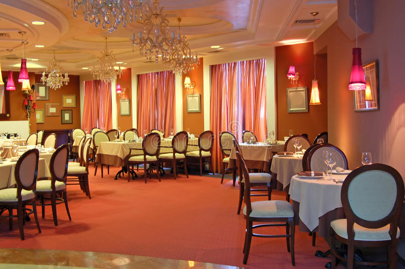 wewnętrzna czerwona restauracja obraz stock