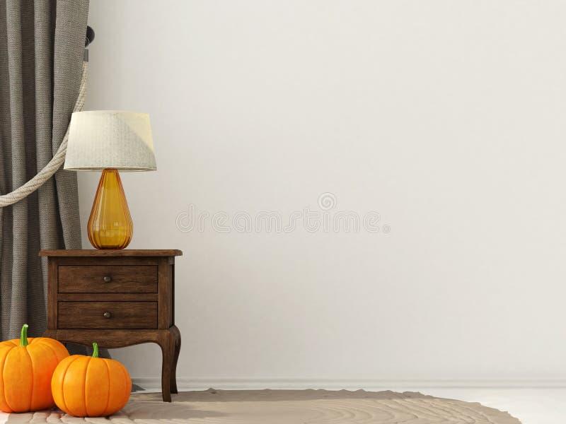 Wewnętrzna dekoracja dla Halloween z drewnianym wezgłowie stołem ilustracja wektor