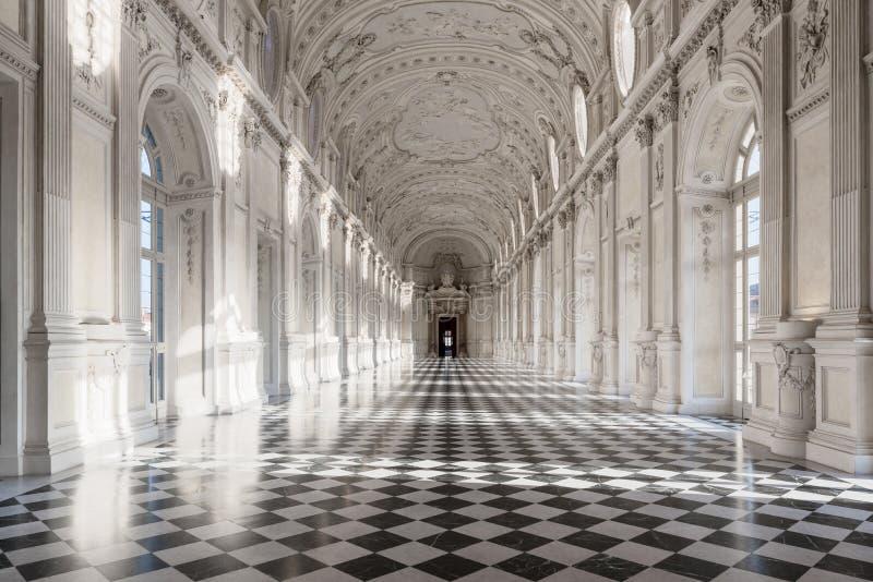 Wewnętrzna galeria pałac królewski Venaria Real w Podgórskim, U fotografia royalty free