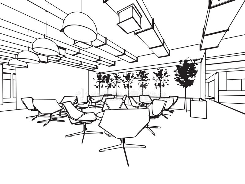 Wewnętrzna konturu nakreślenia rysunku perspektywa astronautyczny biuro ilustracji