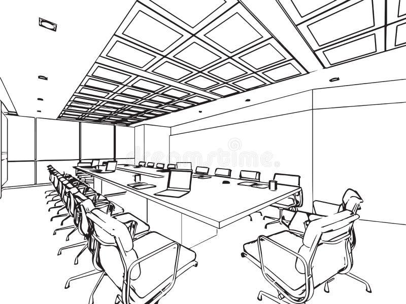Wewnętrzna konturu nakreślenia rysunku perspektywa astronautyczny biuro royalty ilustracja