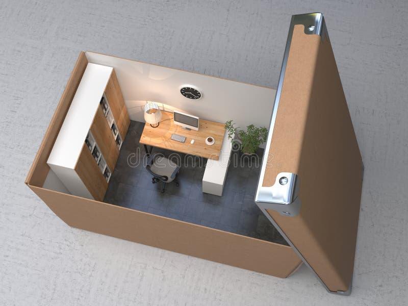 Wewnętrzna powierzchnia biurowa w kartonie niebieski t?a pud?a br?zu pieni?dze konceptualny euro przedmiot ilustracyjny ?wiadczen royalty ilustracja