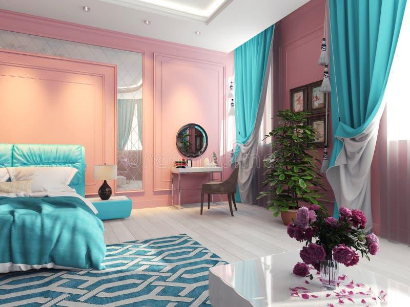 Wewnętrzna sypialnia z turkusowymi zasłonami obraz royalty free