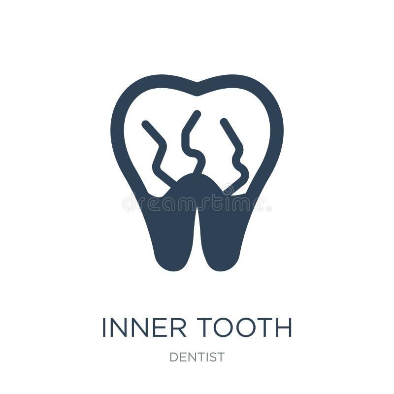 wewnętrzna ząb ikona w modnym projekta stylu wewnętrzna ząb ikona odizolowywająca na białym tle wewnętrznego zębu wektorowa ikona ilustracji