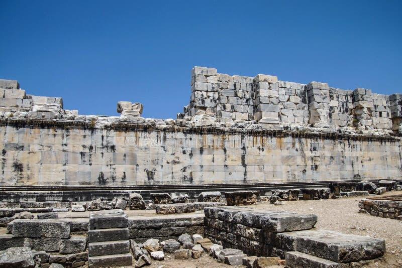 Wewnętrzne ashlar ściany Apollo świątynia fotografia stock