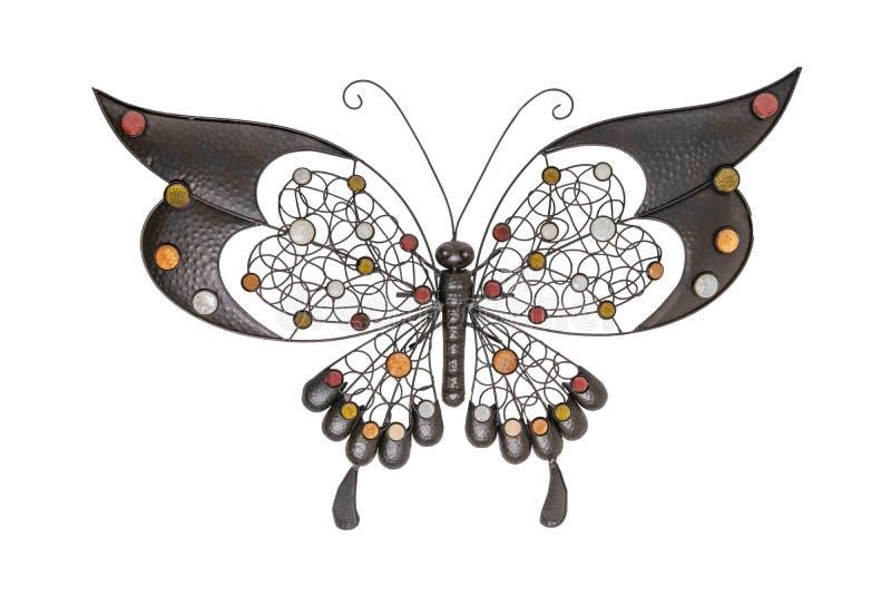 Wewnętrzne dekoracje Motyl robić od brązu metalu odizolowywającego na białym tle obraz royalty free
