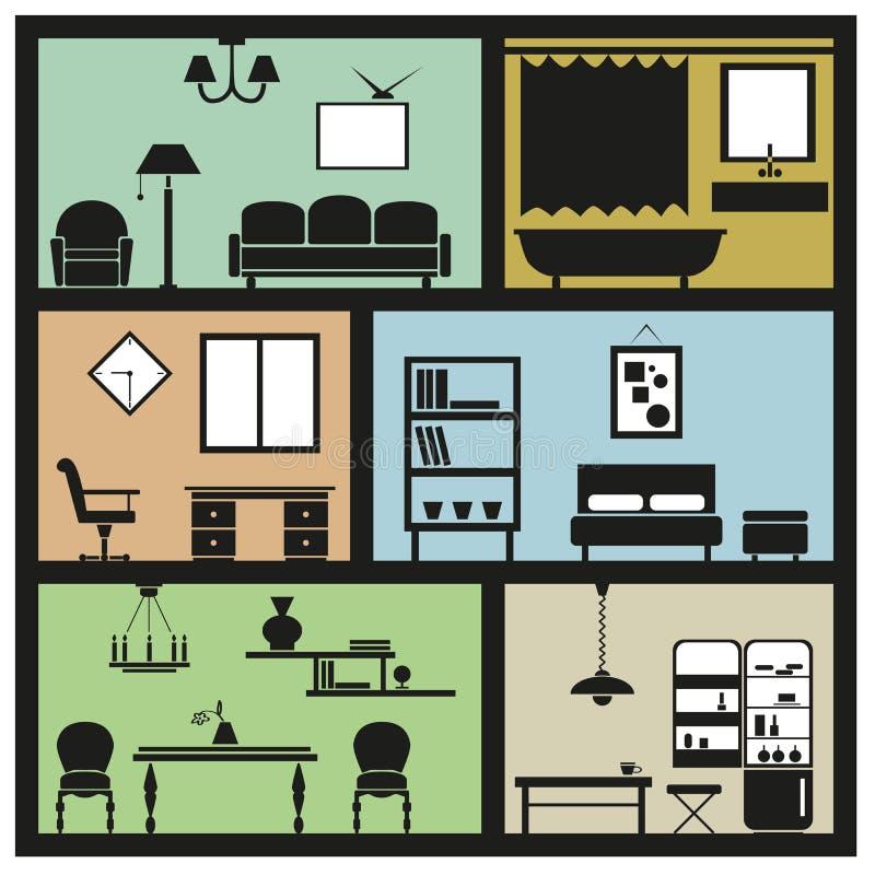 Wewnętrzne meblarskie ikony ilustracja wektor