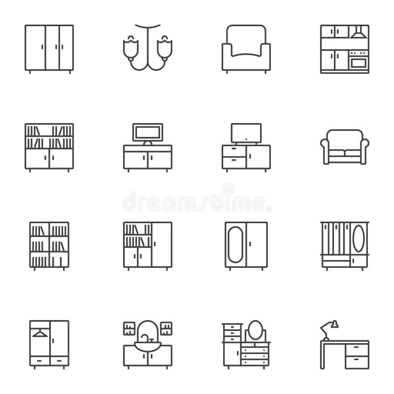Wewnętrzne meble linii ikony ustawiać royalty ilustracja