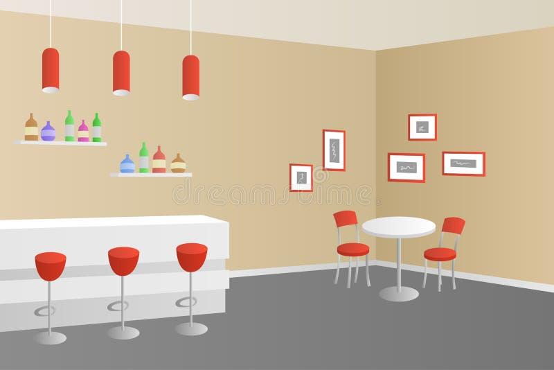 Wewnętrznego kawiarnia baru sklep z kawą beżowa czerwona ilustracja ilustracja wektor