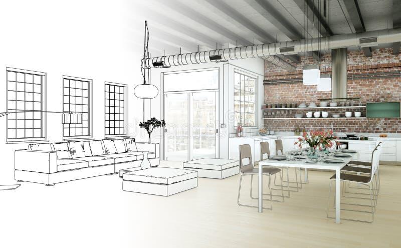 Wewnętrznego projekta Żywa Izbowa Rysunkowa gradacja W fotografię zdjęcie royalty free